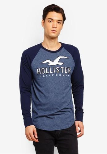 Hollister navy Long Sleeve Tech Logo T-Shirt E5D76AA80A46F8GS_1