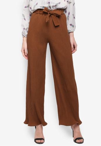 BYN brown Pleated Pants With Waist Tie E32EEAA5BA7592GS_1