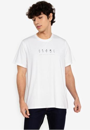 ZALORA BASICS white Flower T-Shirt 9DFF2AA4372F73GS_1