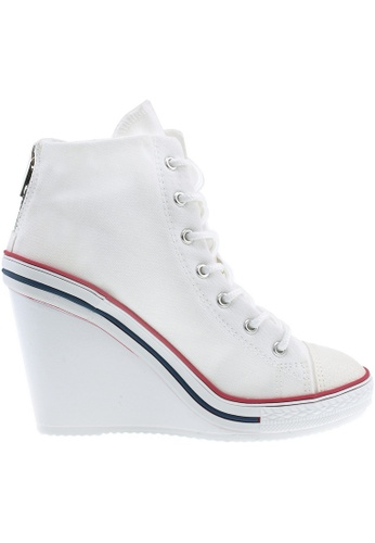 Maxstar white Maxstar Women's 777 Back Zipper Canvas High Wedge Heel Sneakers US Women Size MA164SH81PVASG_1