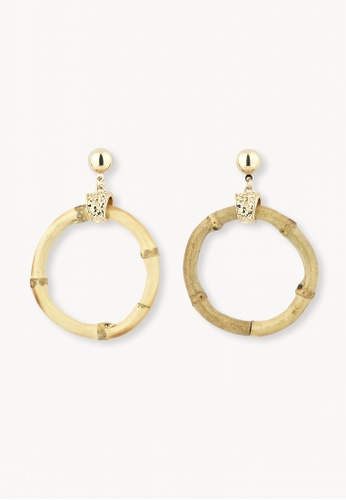 Pomelo brown Wooden Hoop Earrings - Brown AF635ACB3368A7GS_1