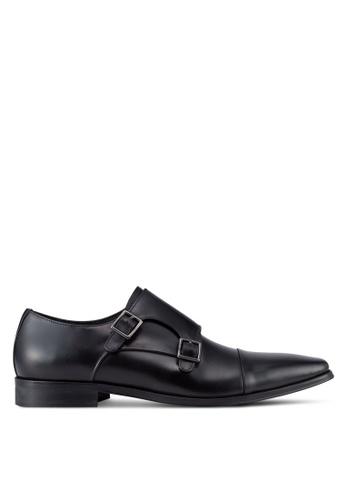 Dune London black Putney Chisel Double Buckle Monk Shoes DU588SH90UDPMY_1