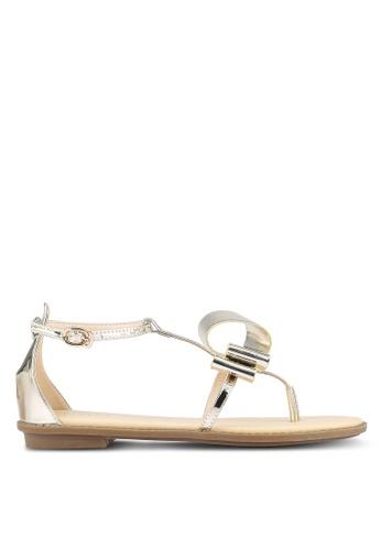 Velvet gold Abstract Bow Sandals DDD73SHA84443BGS_1