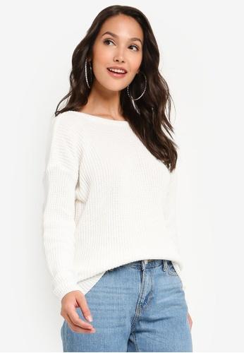 NA-KD 白色 針織Deep V-後Sweater C8404AA8D41B0CGS_1