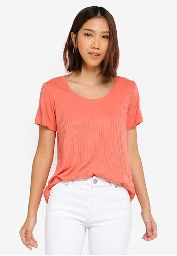 Cotton On pink Elise Scoop Neck Rib Tee 92DECAAAF0F037GS_1