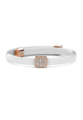 Her Jewellery gold Jack Leather Bracelet (White) - Made with premium grade crystals from Austria HE210AC74DMVSG_1