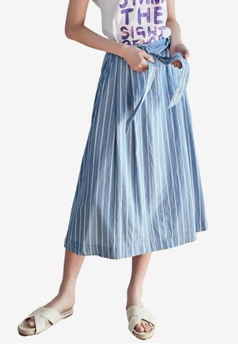 NAIN blue Striped Flare Skirt 4B39AAAF124845GS_1