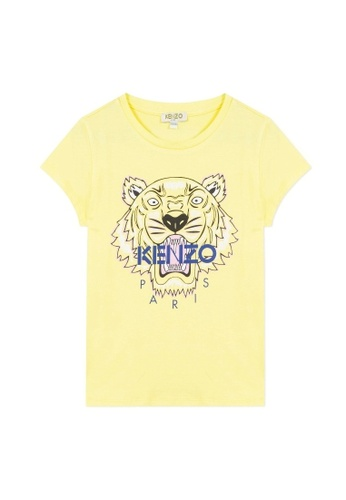 KENZO KIDS yellow and blue and multi KENZO TIGER T-SHIRT FOR GIRLS 2FC88KAE98BFF1GS_1