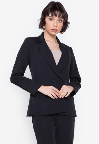 CeFina black Double-Breasted Buttoned Blazer 3251CAA2805F39GS_1