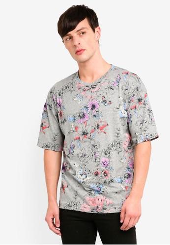 UniqTee grey Flora Oversized T-Shirt 7108DAAF896962GS_1