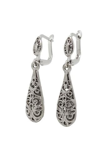 Jaysa Collection silver Silver Teardrop Filigree Earrings JA875AC0FG6KSG_1