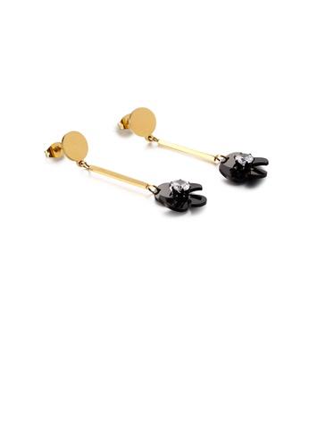 Glamorousky 白色 時尚簡約鍍金色黑色花朵風車316L鋼耳環配鋯石 76DCAAC3D98425GS_1