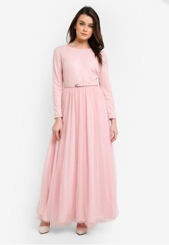 Zalia pink Sequin Top Fit & Flare Dress 47C95AA3259F9DGS_1