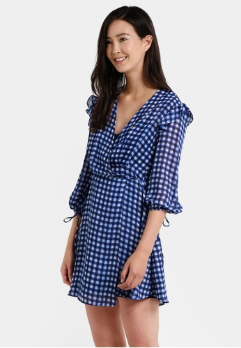 Mango blue Checkered Wrap Dress MA193AA0RAW4MY_1
