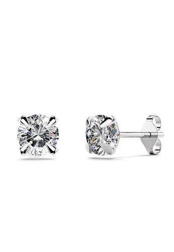 925 Signature 銀色 925 SIGNATURE Solid 925 Sterling Silver Round Brilliant Cut Stud Earrings 12502AC5AA3F48GS_1