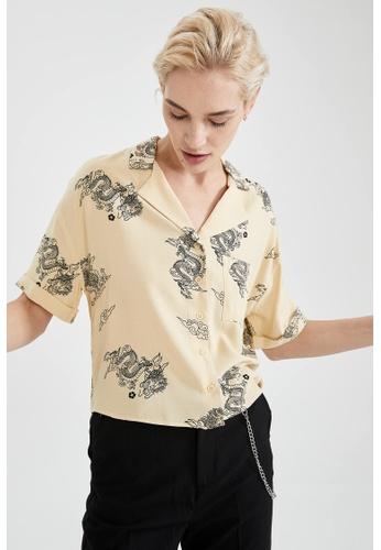 DeFacto grey Woman Woven Short Sleeve Shirt 3D575AA311244BGS_1