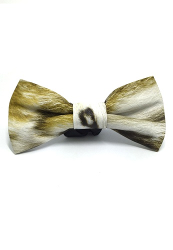 Splice Cufflinks Fluky Series Gold & White Patterned PU Leather Bow Tie SP744AC55QRKSG_1