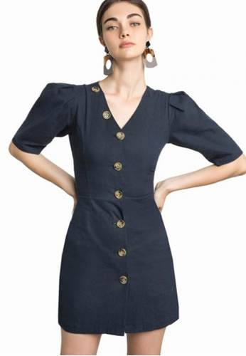 285e9b1c LOVENGIFTS navy Vintage Puff Sleeve Cruise Button Down Slim Dress  DC3B5AA4F638CAGS_1