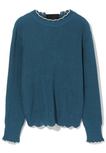 b+ab navy Scallop lace trim knit sweater C6C62AA65AC535GS_1