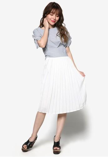 褶飾拼接esprit 香港後繫帶及膝洋裝, 服飾, 洋裝