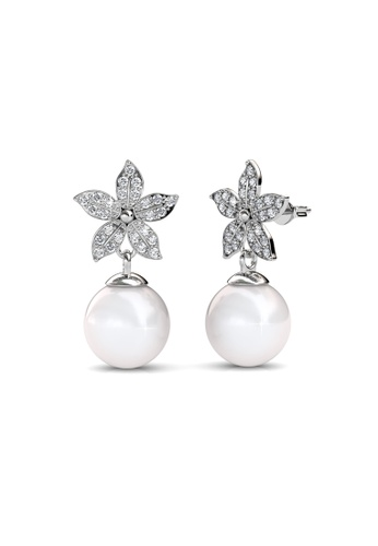 Her Jewellery silver Swarovski® Crystals - Bloom Pearl Earrings (18K White Gold Plated) Her Jewellery HE581AC0R9URMY_1