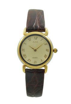 Image of ALBA Jam Tangan Wanita - Brown Gold - Leather Strap - ATA88H