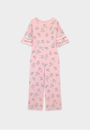 Pomelo pink Half Sleeve Floral Jumpsuit - Pink 775C0AAF382D4FGS_1