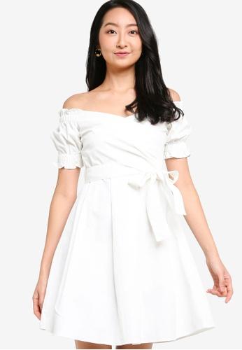 ZALORA BASICS white Off Shoulder Dress With Self Tie 9DA87AA78EA7CDGS_1