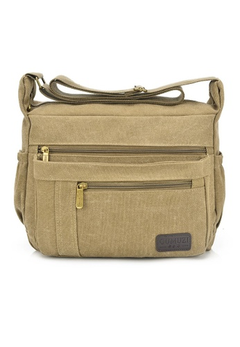 Jackbox brown GMZ Korean Fashion Classic Canvas Messenger Bag Sling Bag 338 (Khaki) JA762AC75ILKMY_1