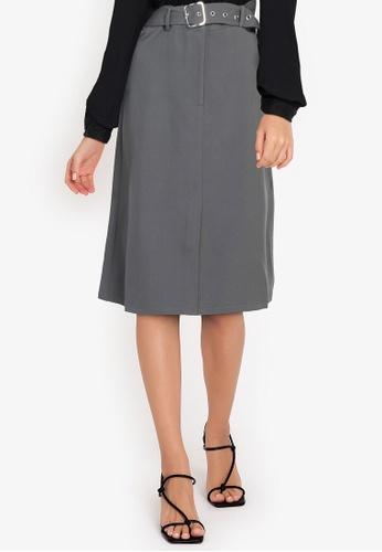ZALORA WORK grey Belted Midi Skirt 0D668AA934EBCAGS_1