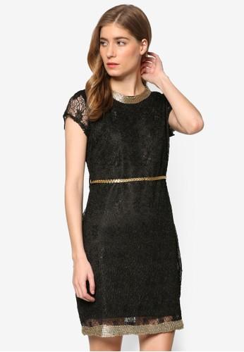 金色滾邊蕾絲短袖洋裝, 服飾, 洋zalora 心得裝
