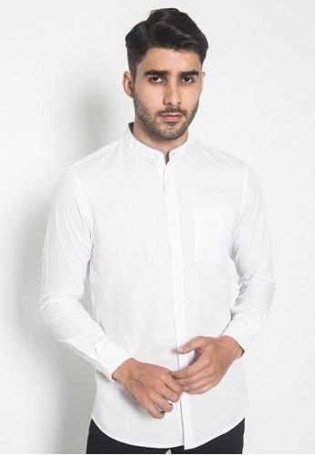Johnwin white Johnwin  - Kemeja Pria - Stand Collar - Slim Fit - putih 742C0AA025E7F3GS_1