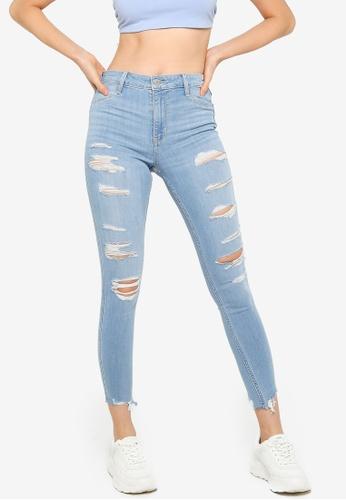 Hollister blue Shred Destroy High Rise Jeans 7A2D3AA0A30C5CGS_1