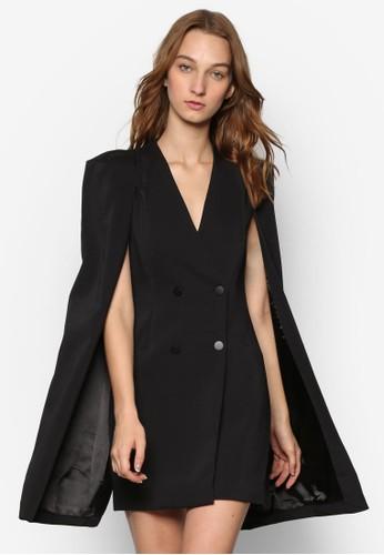 簡約V領披肩連身裙,esprit outlet台北 服飾, 洋裝