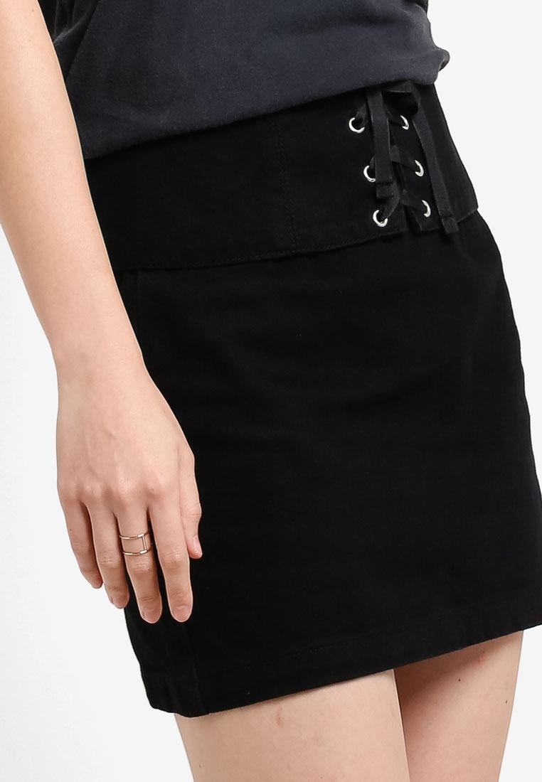 TOPSHOP Moto Corset Denim Detail Skirt Black aRAYgw6qR