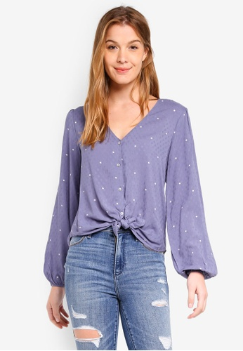 Abercrombie & Fitch blue Tie Front Long Sleeve Blouse 5E836AA8317CB0GS_1