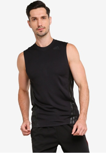 ADIDAS black aeroready 3s sleeveless top 07624AAC27E9A8GS_1