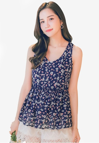 YOCO navy Frilled Floral Top D0932AA717C97BGS_1