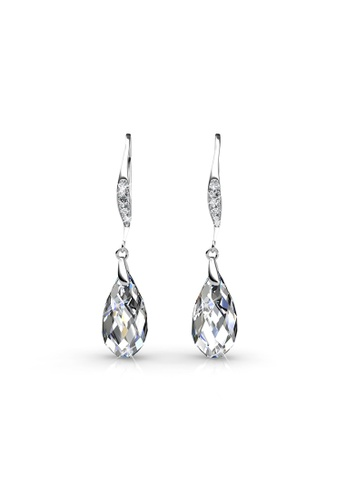 Her Jewellery silver Swarovski® Crystals - Droplet Hook Earrings (18K White Gold Plated) Her Jewellery HE581AC0RESMMY_1