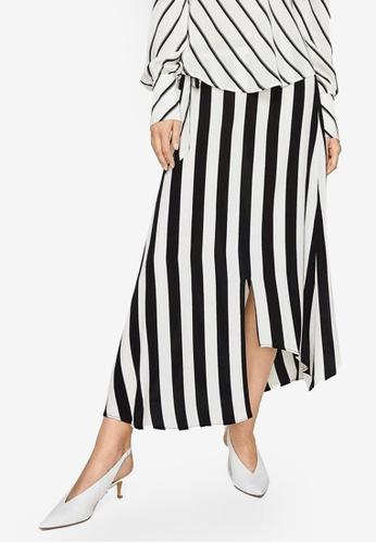 Mango black Striped Asymmetric Skirt 74CF8AA8F6AE61GS_1