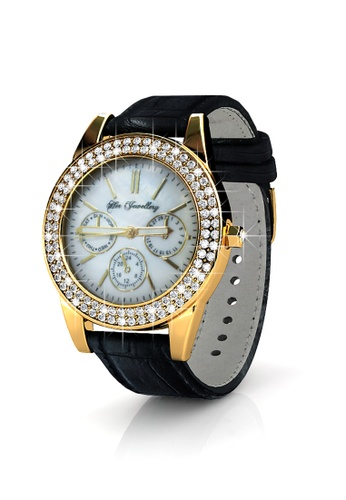 Her Jewellery black Sonia Leather Watch (Black, Yellow Gold) - Made with premium grade crystals from Austria 469B9AC7D0E730GS_1