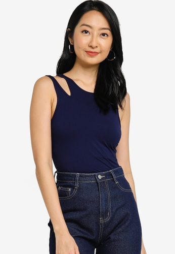 ZALORA BASICS navy Asymmetrical Tank Top 096C1AA4EEC443GS_1