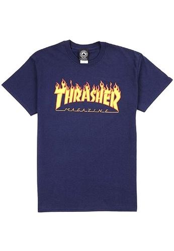 THRASHER multi and navy Thrasher Flame Tee 04641AAB4B2A07GS_1