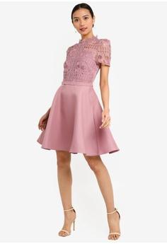d69fe7685fb8 33% OFF Little Mistress Alanis Blush Lace Top Mini Skater Dress S  146.90  NOW S  98.90 Sizes 6 8 10 12 14