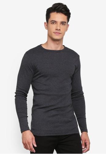 River Island grey Rib Long Sleeve T-Shirt C4ABCAAD3A5BCFGS_1