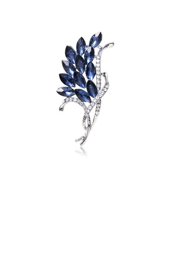 Glamorousky white Fashion and Elegant Floral Brooch with Blue Cubic Zirconia 13EB6ACC5C34E8GS_1