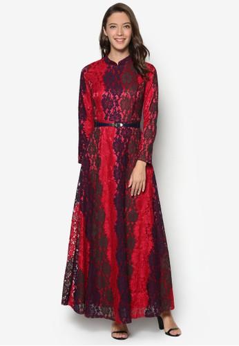 Zarah 長袖蕾絲腰帶連身長裙, 服飾esprit hk分店, 洋裝