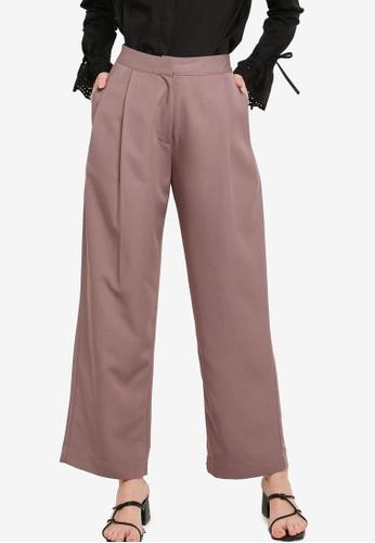 Zalia brown Pleated Straight Leg Pants 32994AAE12B475GS_1