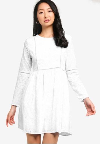 ZALORA BASICS white Long Sleeve Embroidered Dress 8C673AA7B08CF0GS_1