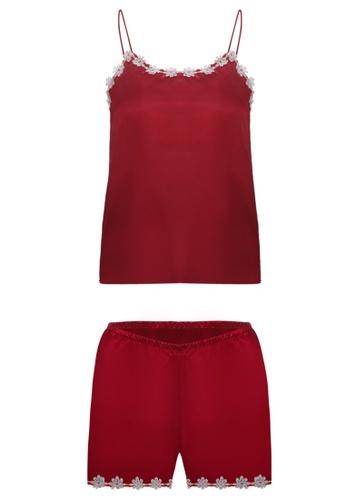 SMROCCO red Mila Spagetti Strap Top Bottom Pyjamas Sleepwear PM8060-R 88E1EAA98FDE65GS_1